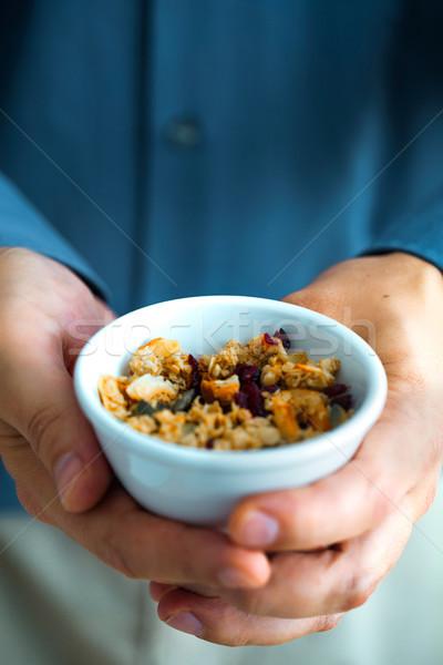 Stock fotó: Egészséges · reggel · reggeli · választék · granola · gyümölcs