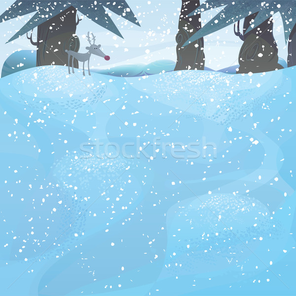 Vector winter landscape with pine trees and Rudolph Stock photo © mythja