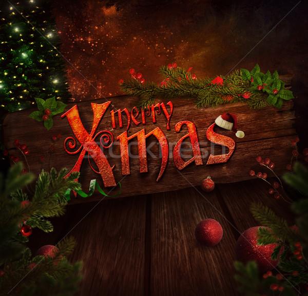 Stock foto: Weihnachten · Design · Zeichen · glitter · Baum