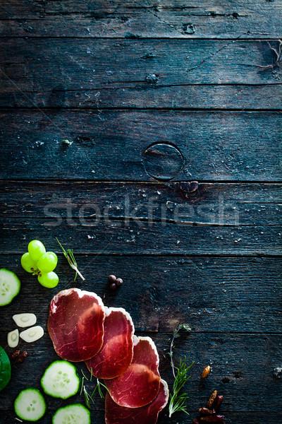 Włoski szynka prosciutto salami składniki bruschetta Zdjęcia stock © mythja