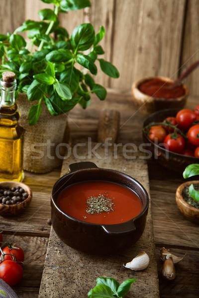 Domates çorbası zeytinyağı fesleğen vejetaryen yemek gıda hayat Stok fotoğraf © mythja