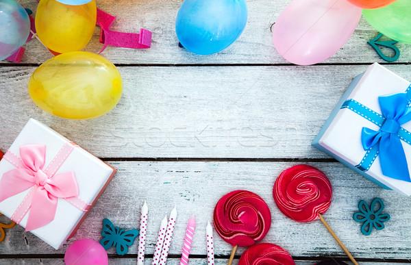 Verjaardag viering exemplaar ruimte wenskaart partij hout Stockfoto © mythja