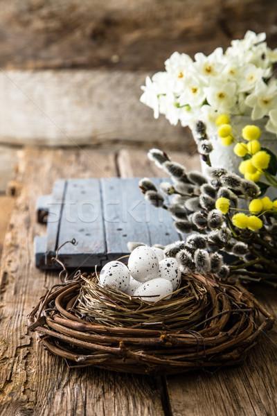 Пасху древесины пасхальных яиц красочный праздник яйца Сток-фото © mythja