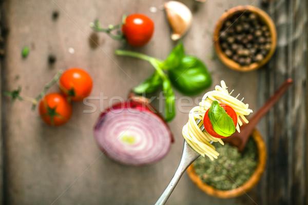 パスタ オリーブオイル イタリア料理 フォーク ニンニク バジル ストックフォト © mythja