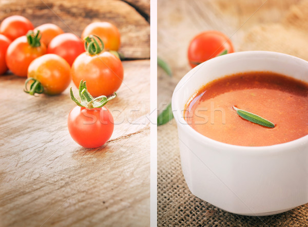 Tomato soup collage Stock photo © mythja