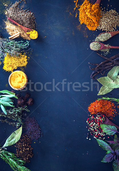 Przyprawy zioła wybór morze Śródziemne żywności tle Zdjęcia stock © mythja