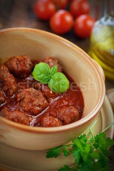 Italian cooking  - meat balls with basil Stock photo © mythja