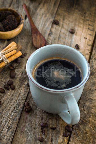 кофе древесины чашку кофе турецкий сахар Vintage Сток-фото © mythja