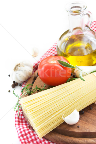 Spaghetti with ingredients Stock photo © mythja
