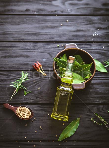 Middellandse zee ingrediënten olijfolie kruiden rosmarijn olijven Stockfoto © mythja