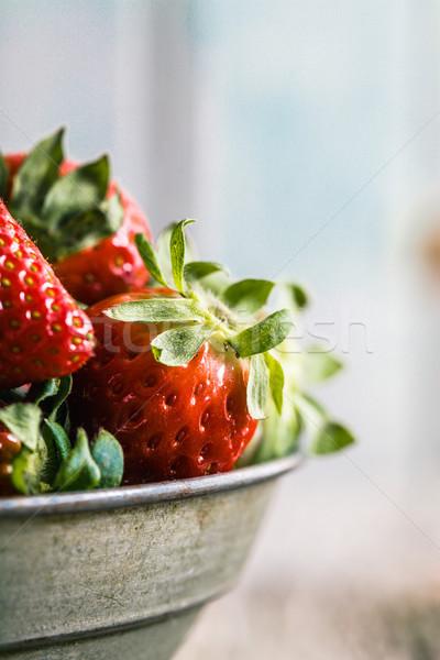 Strawberries on wood Stock photo © mythja