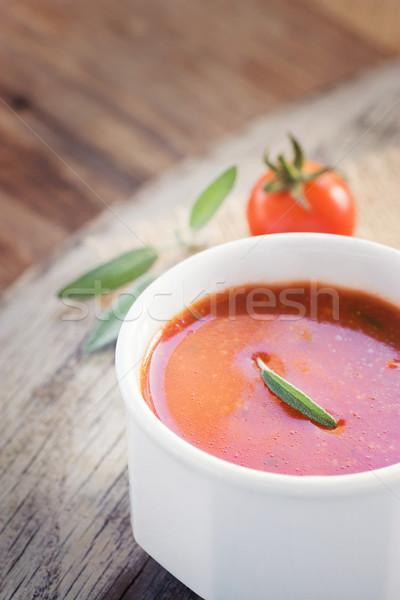 Zupa pomidorowa świeże pomidorki zioła kopia przestrzeń żywności Zdjęcia stock © mythja