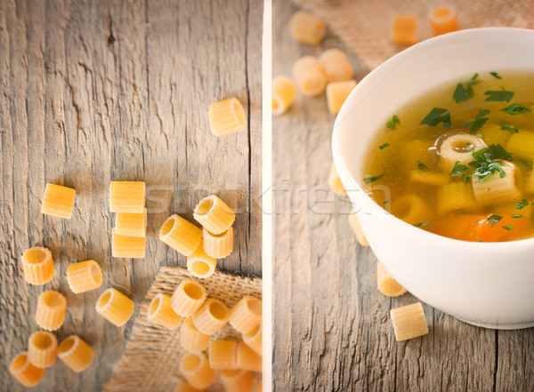 Collage Vegetable soup with pasta Stock photo © mythja