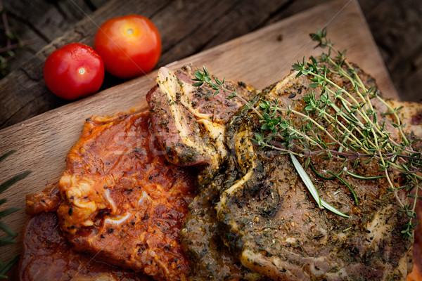 Marinált hús nyers friss zöldségek barbecue BBQ Stock fotó © mythja