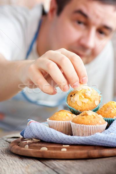 Stockfoto: Heerlijk · muffins · chef · organisch · amandel · kers