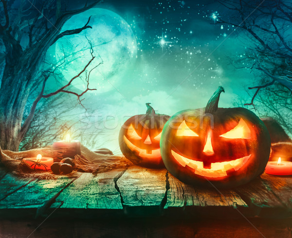 Halloween design with pumpkins Stock photo © mythja