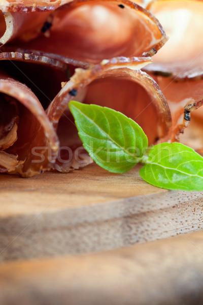 Aszalt disznóhús szalámi sonka gyógynövények fa Stock fotó © mythja