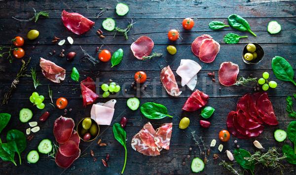 итальянский ветчиной прошутто салями Ингредиенты брускетта Сток-фото © mythja