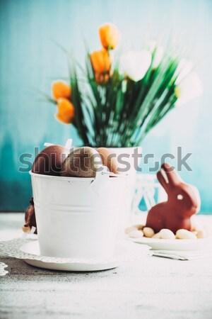ストックフォト: イースター · 表 · チョコレート · 卵 · バニー · チューリップ