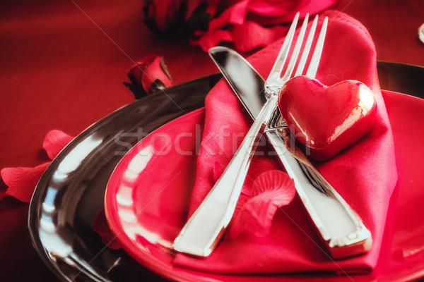 Valentines dinner setting Stock photo © mythja