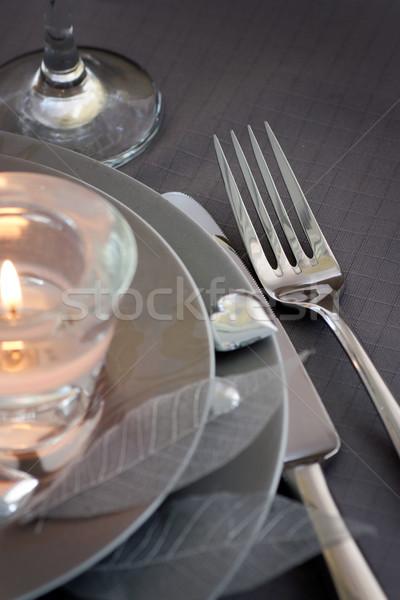 バレンタイン 日 ロマンチックな 表 レストラン ディナーテーブル ストックフォト © mythja
