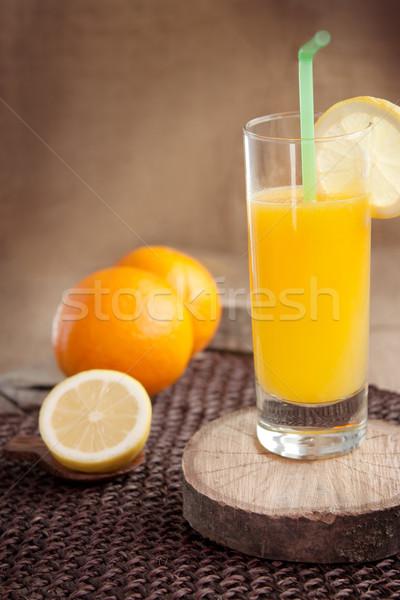 Stok fotoğraf: Meyve · suyu · cam · sağlıklı · turuncu · limon · meyve · suyu