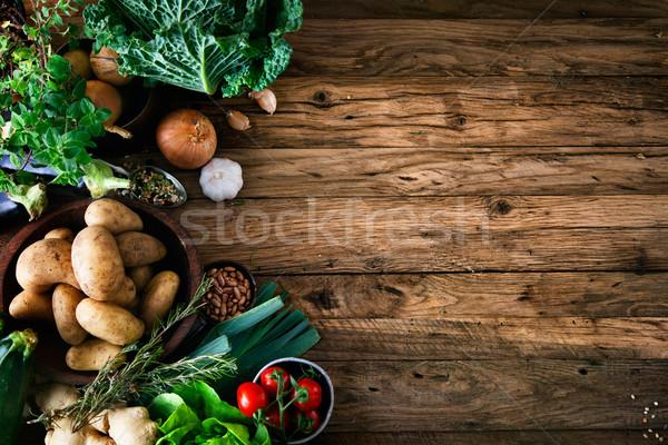 ストックフォト: 野菜 · 木材 · バイオ · 健康食品 · ハーブ · スパイス