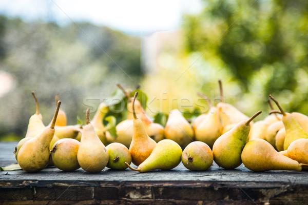 Autumn pears on wood Stock photo © mythja