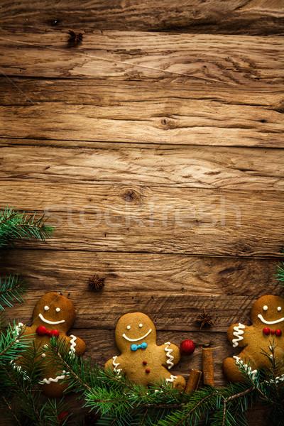 Gingerbread man ahşap kurabiye Noel noel Stok fotoğraf © mythja