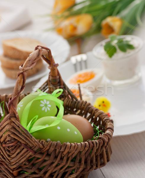 Stok fotoğraf: Geleneksel · Paskalya · kahvaltı · tablo · yumurta