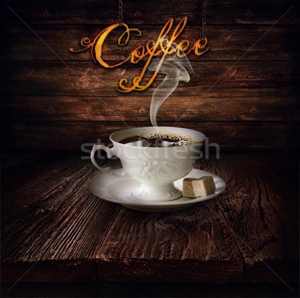 Gıda dizayn siyah kahve kahve ahşap masa ahşap Stok fotoğraf © mythja