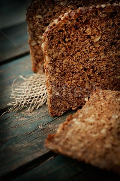 Rústico pão pão girassol sementes madeira Foto stock © mythja