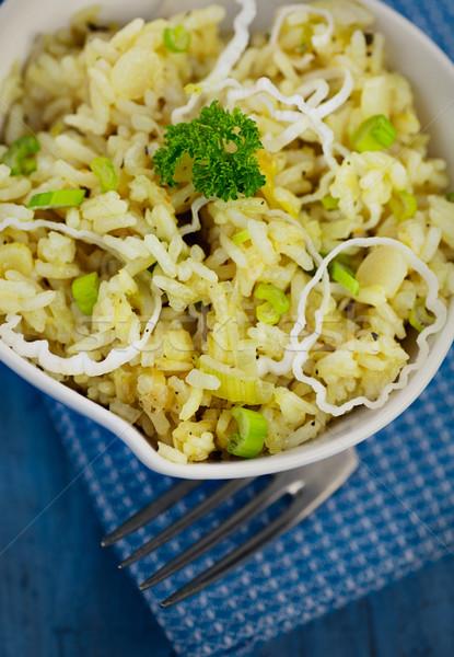 Prei risotto vegetarisch eten garnering vork peper Stockfoto © mythja