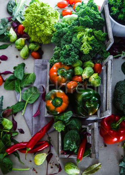 Fresh vegetables flatlay Stock photo © mythja