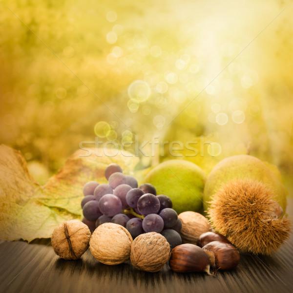 Сток-фото: набор · осень · фрукты · природы · красивой · солнечный · свет