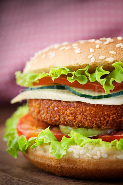 Stock photo: Fried chicken or fish burger sandwich
