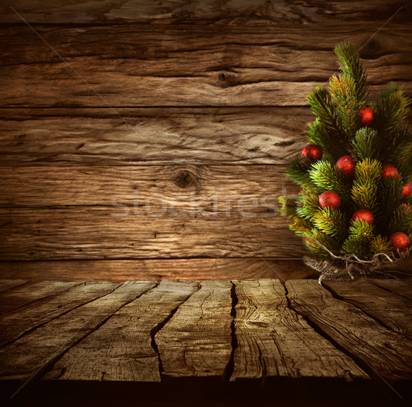 Stock photo: Tabletop with Christmas tree