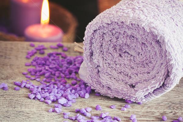 Roxo estância termal naturalismo bem-estar flores toalha Foto stock © mythja