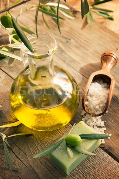 Természetes fürdő olajbogyó termékek olívaolaj fürdősó Stock fotó © mythja