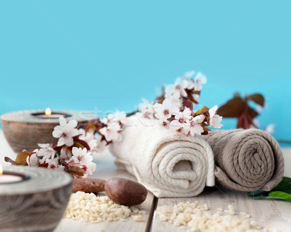 Foto d'archivio: Naturale · spa · benessere · sapone · candele · asciugamano