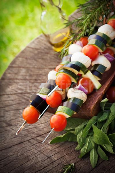 Plantaardige kebab voorjaar tuin barbecue kerstomaatjes Stockfoto © mythja
