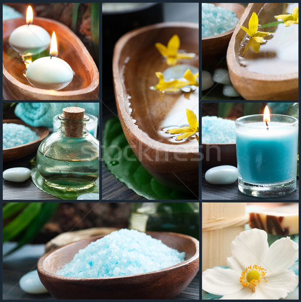 Stock photo: Spa collage in blue