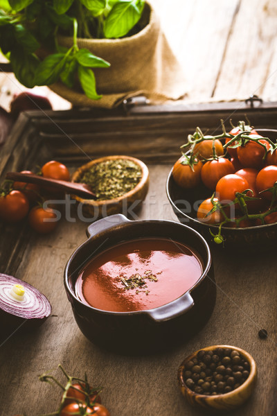 Tomato soup on wood Stock photo © mythja