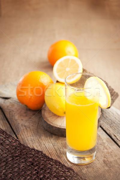 Gyümölcslé üveg egészséges narancs citrom dzsúz Stock fotó © mythja
