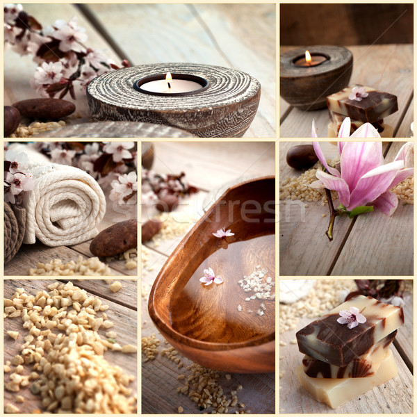 Stock photo: Spa collage with magnolia flower