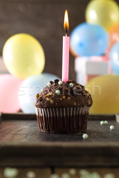 Birthday objects on wood Stock photo © mythja