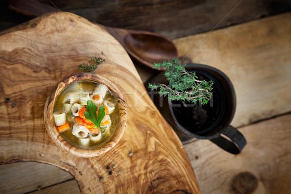 Zupa jarzynowa makaronu dekorować żywności tle restauracji Zdjęcia stock © mythja