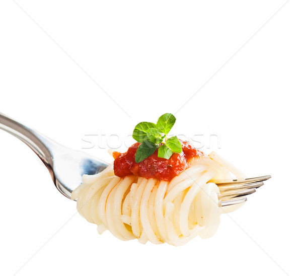 Stock photo: Pasta on fork