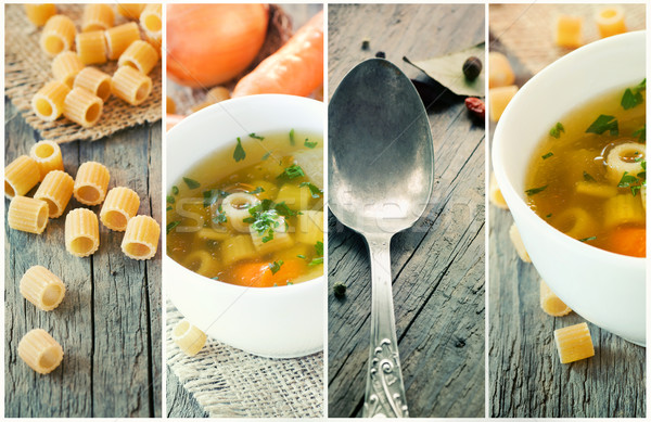 Vegetable soup collage Stock photo © mythja