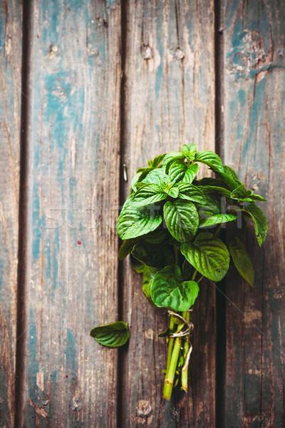 Fresco ervas de rústico comida madeira Foto stock © mythja